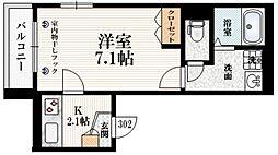 The Terrace Yotsuya 3階1Kの間取り