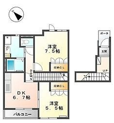 JR東海道本線 西岡崎駅 徒歩17分の賃貸アパート 2階2DKの間取り