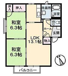 コーポ・アルカディア B[2階]の間取り