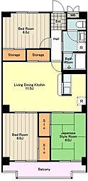 JR中央線 立川駅 徒歩15分の賃貸マンション 3階3LDKの間取り