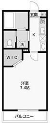 神奈川県川崎市多摩区中野島6丁目の賃貸アパートの間取り