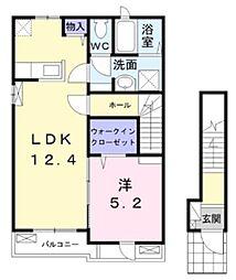 東武野田線 豊四季駅 徒歩20分の賃貸アパート 2階1LDKの間取り