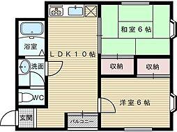 ユニオンハイツ柴島[2階]の間取り
