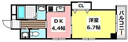 マンションクォーレ 6階1DKの間取り