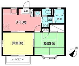 ホワイトハウスHIE B[203号室]の間取り