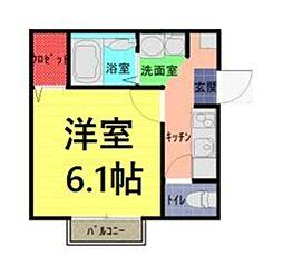 東武野田線 七里駅 徒歩6分の賃貸アパート 2階1Kの間取り