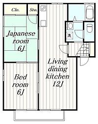 神奈川県綾瀬市深谷上7丁目の賃貸アパートの間取り