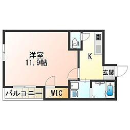JR阪和線 日根野駅 徒歩3分の賃貸アパート 1階1Kの間取り