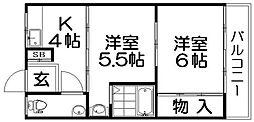 ハイツ寿[2階]の間取り