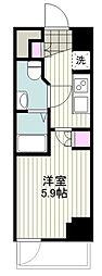 BANDOBASHI KNOTS 7階1Kの間取り
