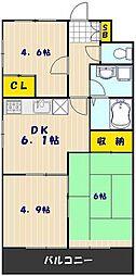 ハイクレスト喜沢南マンション 2階3DKの間取り