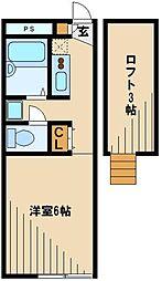西武池袋線 仏子駅 徒歩12分の賃貸アパート 2階1Kの間取り