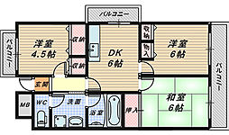 ヴィルヌーブ堺[3階]の間取り