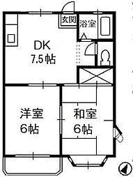 シャトー21 A[2階]の間取り