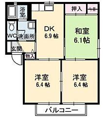 緑の館 B[1階]の間取り