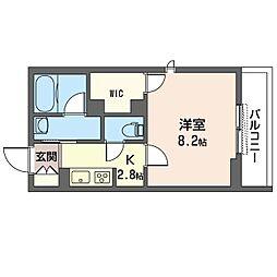 仮)中原区木月1丁目シャーメゾン 2階1Kの間取り