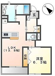 JR京浜東北・根岸線 さいたま新都心駅 徒歩29分の賃貸アパート 1階1LDKの間取り