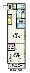 ハレアカラ南青山 2階1DKの間取り