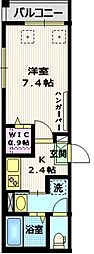 京王線 千歳烏山駅 徒歩6分の賃貸マンション 1階1Kの間取り
