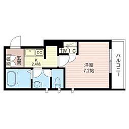 恵比寿13番館 2階1Kの間取り
