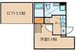 クラヴィール上野田原町 5階1Kの間取り