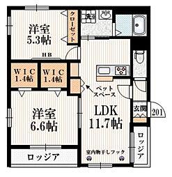 京王線 幡ヶ谷駅 徒歩8分の賃貸マンション 2階2SLDKの間取り