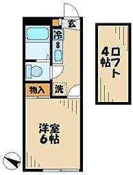 京王相模原線 京王永山駅 徒歩10分の賃貸アパート 1階1Kの間取り