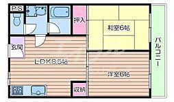 JR東海道・山陽本線 吹田駅 徒歩8分の賃貸アパート 3階2DKの間取り