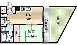 朝日プラザ帝塚山東[1階]の間取り