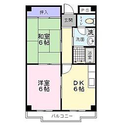 南海高野線 中百舌鳥駅 徒歩11分の賃貸マンション 2階2DKの間取り