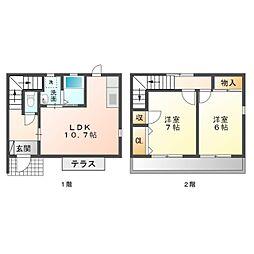 愛知県豊橋市柱九番町の賃貸アパートの間取り