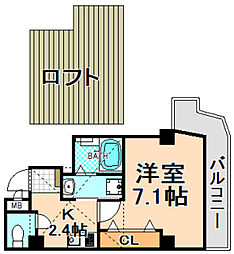 JR福知山線 伊丹駅 徒歩4分の賃貸マンション 7階1Kの間取り