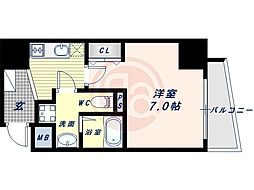 阪堺電気軌道上町線 松虫駅 徒歩3分の賃貸マンション 5階1Kの間取り