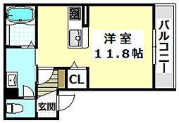 JR東海道・山陽本線 茨木駅 徒歩5分の賃貸マンション 1階ワンルームの間取り