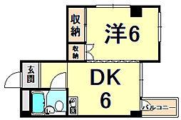 鳴尾ハイム 2階1DKの間取り