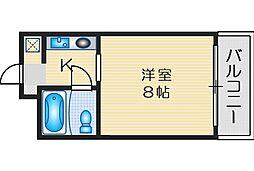 ニューヒル高塚 2階1Kの間取り