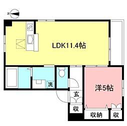 JR中央線 吉祥寺駅 バス14分 新川下車 徒歩2分の賃貸マンション 1階1LDKの間取り