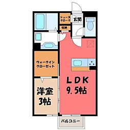 モリ ロワイヤル 1st 2階1LDKの間取り