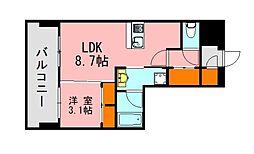 西鉄天神大牟田線 西鉄平尾駅 徒歩13分の賃貸マンション 8階1LDKの間取り