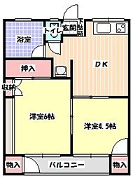 平田ハイツB棟[203号室]の間取り