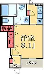 JR総武本線 物井駅 徒歩15分の賃貸アパート 1階1Kの間取り