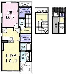 西武多摩川線 競艇場前駅 徒歩13分の賃貸アパート 3階1LDKの間取り