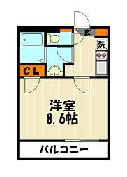東武東上線 朝霞台駅 徒歩19分の賃貸マンション 3階1Kの間取り