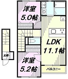 JR中央線 八王子駅 バス24分 創価大学創大門下車 徒歩1分の賃貸アパート 2階2LDKの間取り