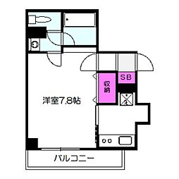 アクティコート京橋 2階1Kの間取り