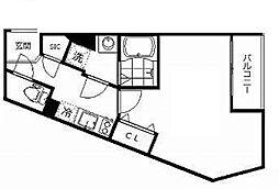 東武東上線 ときわ台駅 徒歩7分の賃貸マンション 5階1Kの間取り