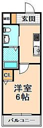 阪急伊丹線 稲野駅 徒歩2分の賃貸マンション 1階1Kの間取り