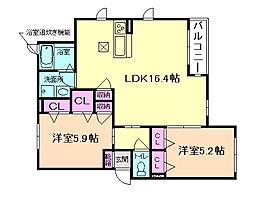 大阪府池田市渋谷3丁目の賃貸アパートの間取り