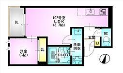 JR総武本線 東千葉駅 徒歩12分の賃貸アパート 3階1LDKの間取り