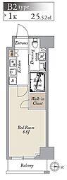 都営大江戸線 両国駅 徒歩8分の賃貸マンション 9階1Kの間取り